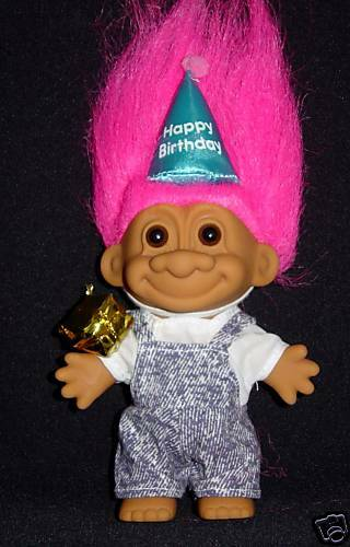 "75 Chrome Shop >> HAPPY BIRTHDAY 5"" Russ Troll Doll w/ Present NEW IN BAG 