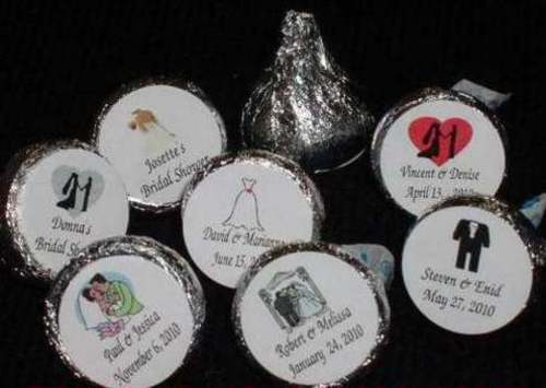 Personalized wedding bridal shower kiss candy wrappers for Personalized wedding shower favors