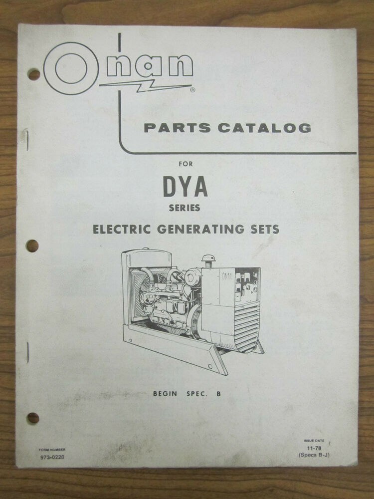 Onan Engine Parts Catalog : Onan parts catalog for dya series electric generating sets