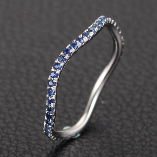 Natural Blue Sapphires Micro Pave 14k White Gold Full