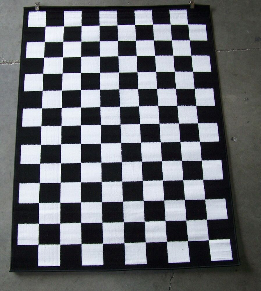 Black And White Rug Ebay Uk: Black And White Checkered Area Rug 5' X 8'