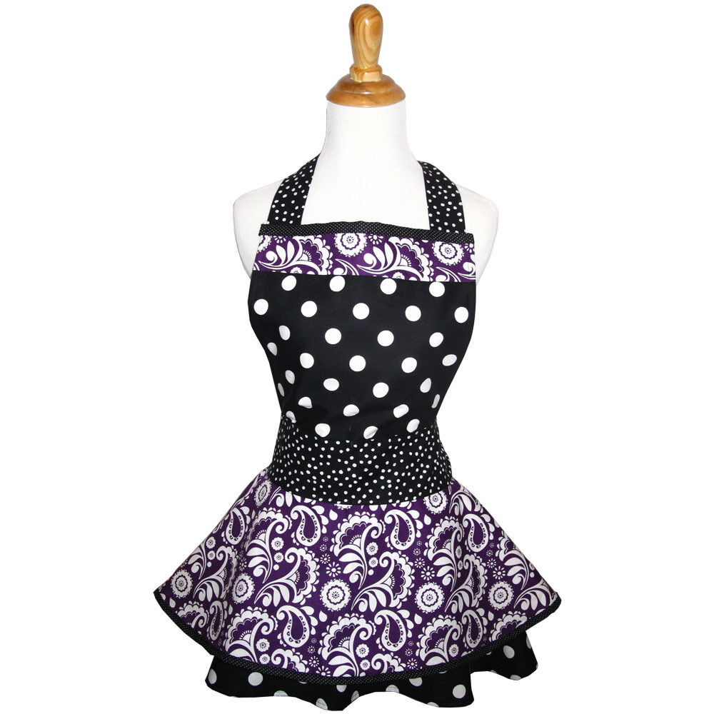 Purple Apron - Designer Cute Vintage Kitchen Aprons