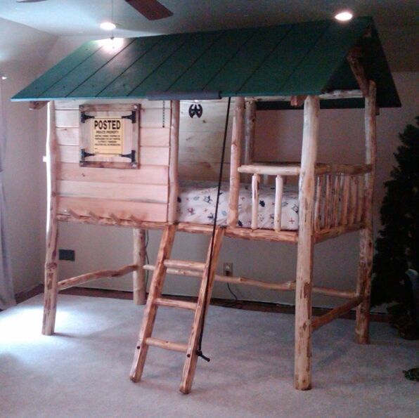 Tree House Log Cabin Bed Twin Bunk Bed Loft Bed Custom