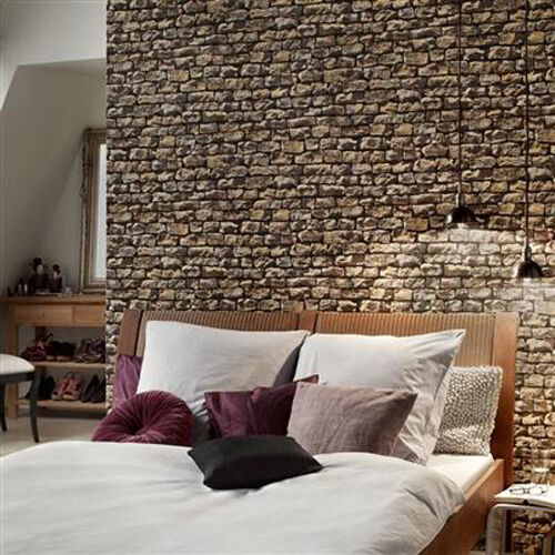 Cornish Stone Effect Wallpaper From B Q: Rustic Brick Wall Brick Effect Wallpaper, Sand, Beige
