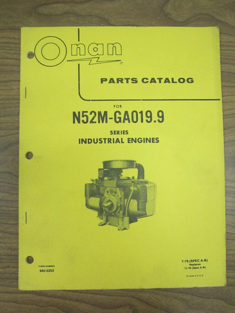 Onan Engine Parts Catalog : Onan parts catalog for n m ga series industrial