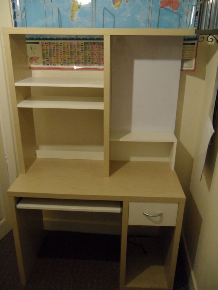 IKEA MIKAEL DESK WORKSTATION W/ WHITE BOARD, STORAGE DRAWER AND ROLL OUT SHELF | eBay