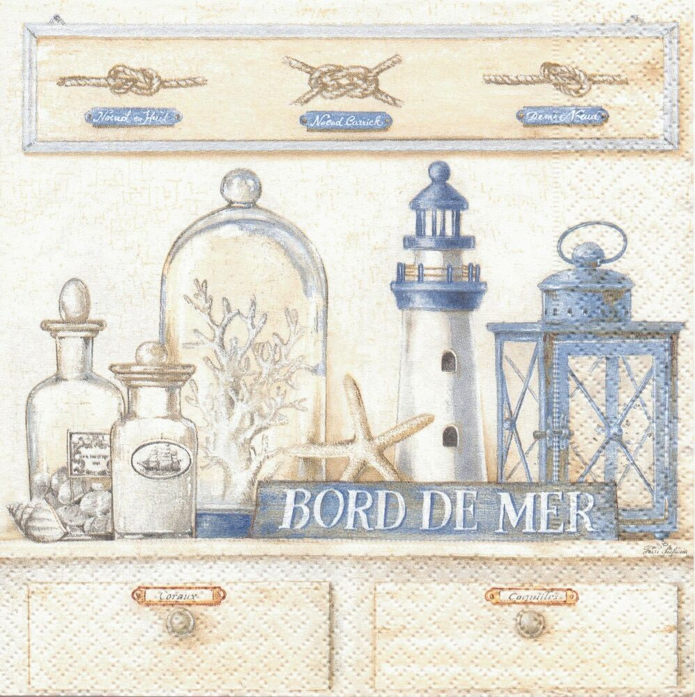 4 vintage style paper lunch napkins bord de mer tea party decoupage shabby chic ebay. Black Bedroom Furniture Sets. Home Design Ideas