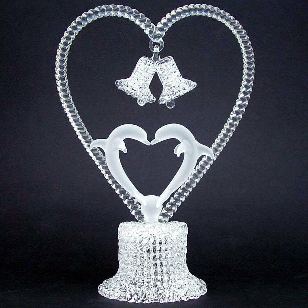 Dolphins Kissing Glass Wedding Cake Top Topper Crystal