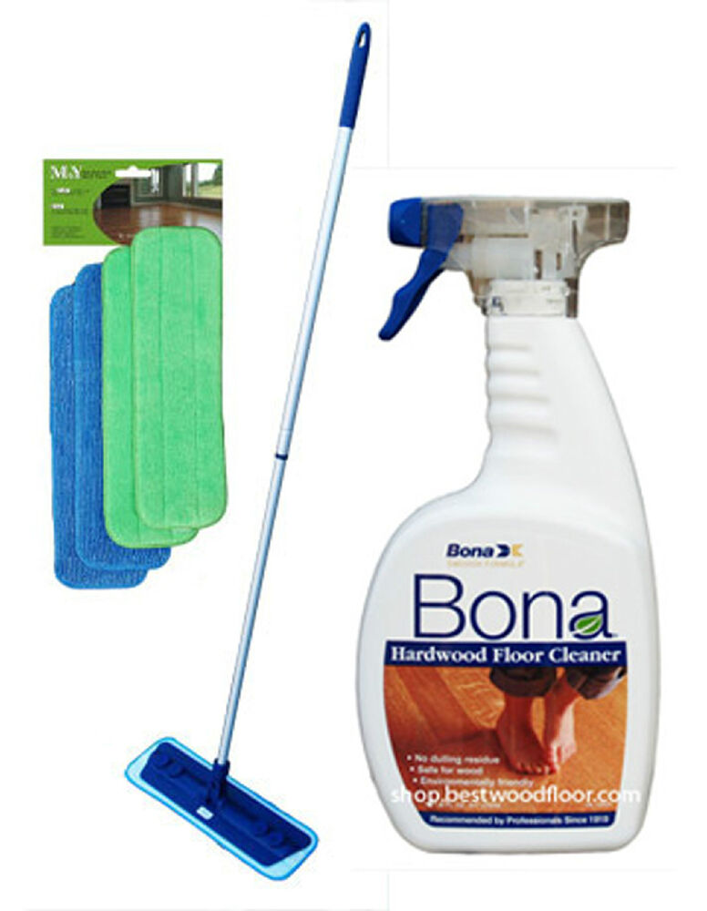 4 Pads Swivel Microfiber Mop Kit Bona Hardwood Floor