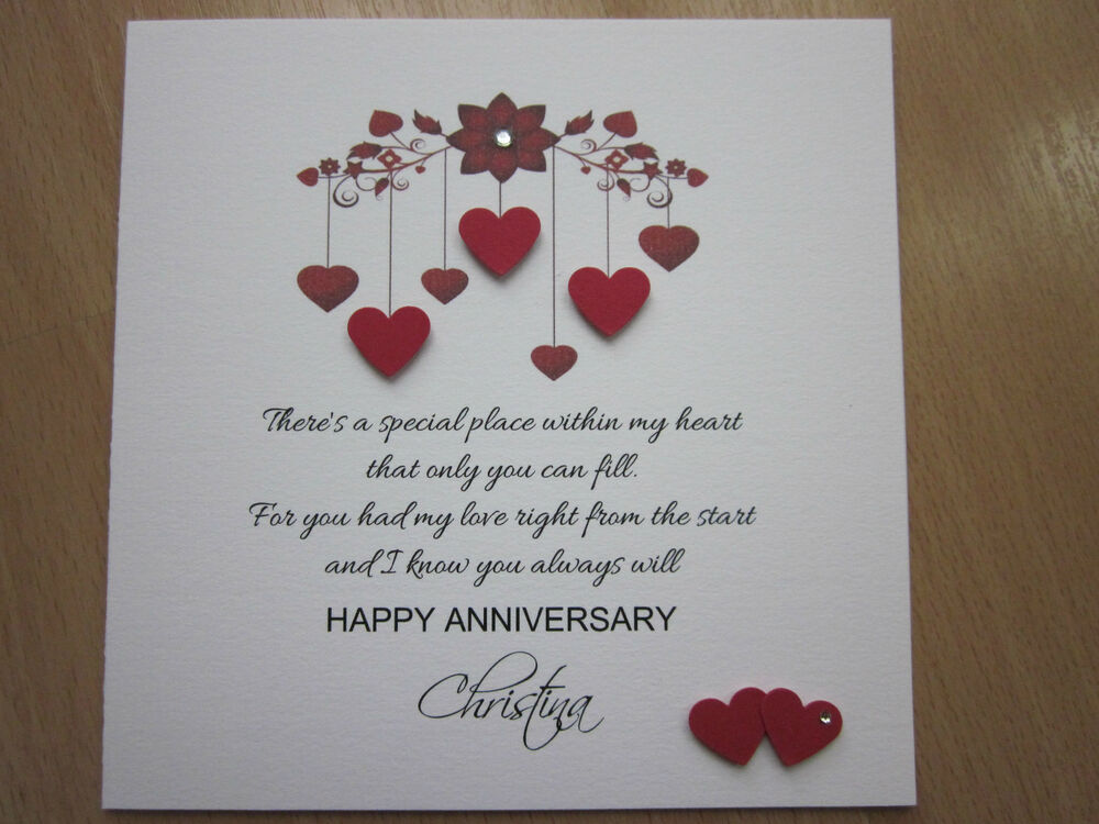 Personalised Handmade Anniversary Engagement Wedding Day Card Husband Wife Ebay