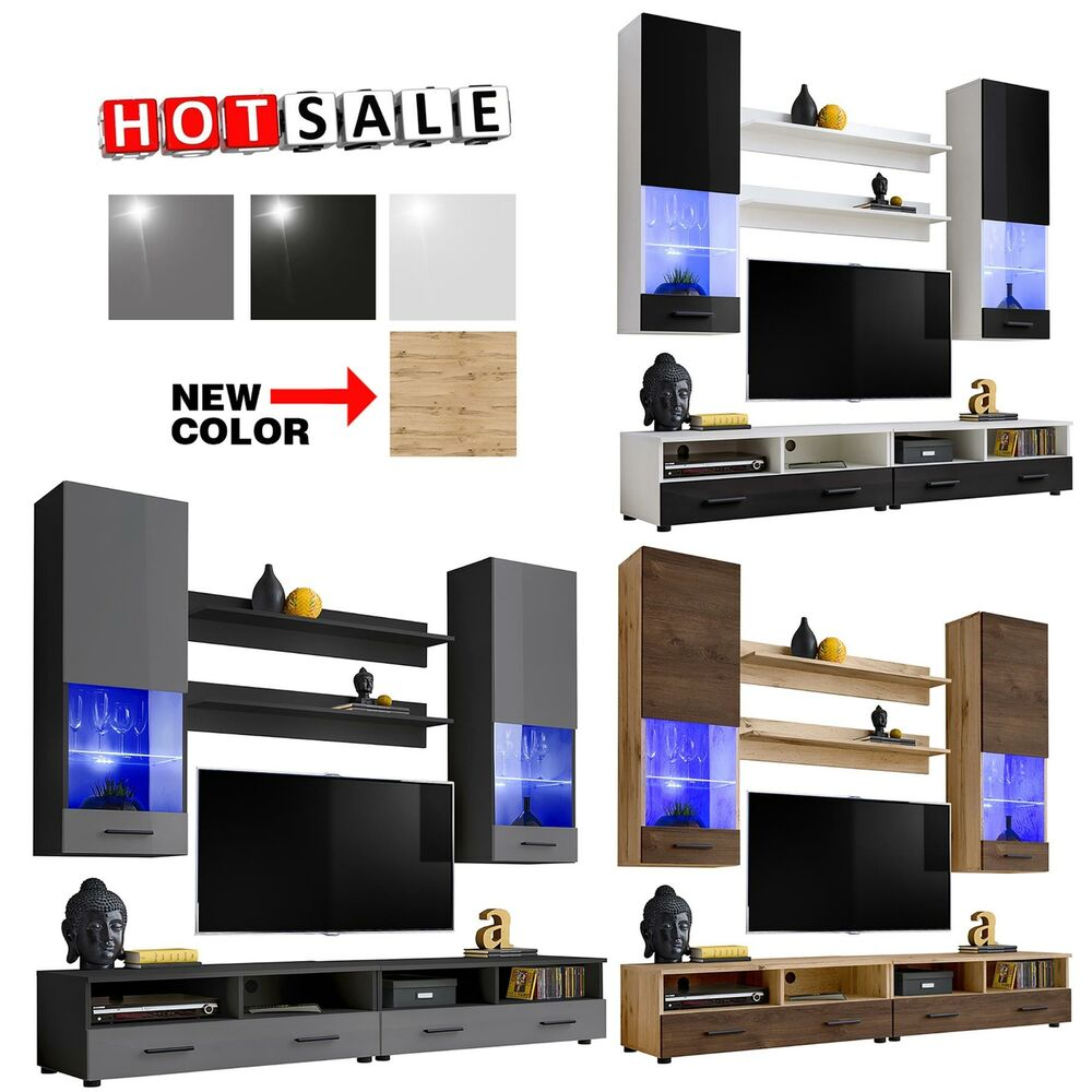 Living Room TV Set Furniture Cabinet Wall Unit Modern Stand Cupboard ...