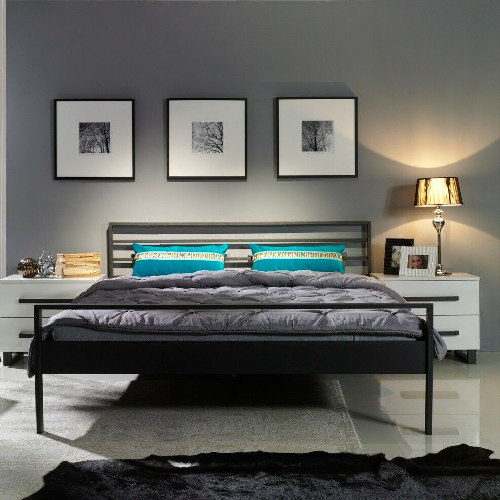 tuisto eisenbett metallbett schlafzimmer design bett bettgestell 140x200 160x200 ebay. Black Bedroom Furniture Sets. Home Design Ideas