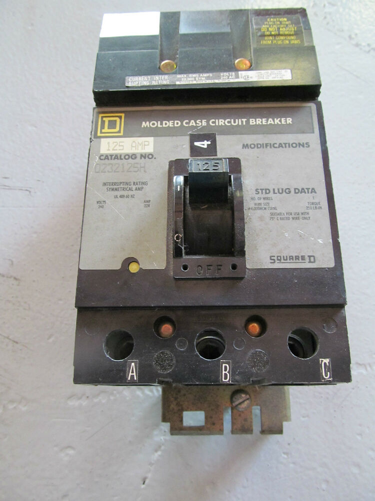 square d q232125h 125 amp 3 pole 240 v i line circuit breaker ebay. Black Bedroom Furniture Sets. Home Design Ideas