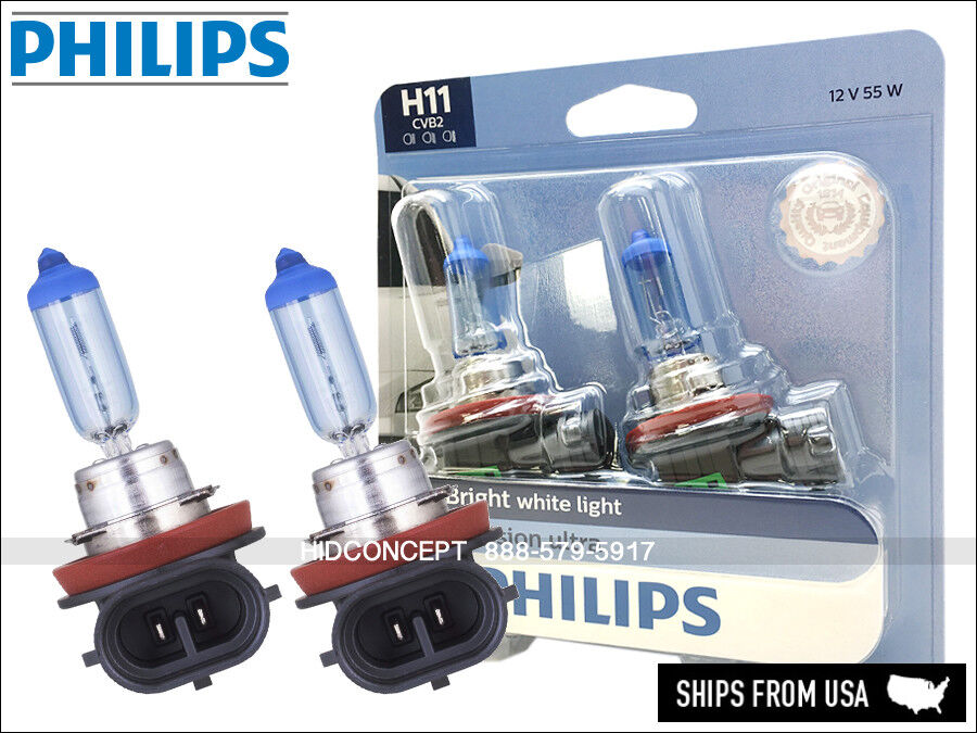 New Philips H11 Crystal Vision Ultra Hid Look Bulbs