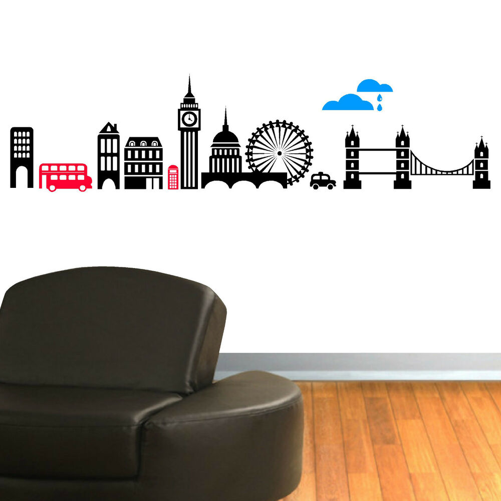 London skyline vinyl wall art sticker decal mural ebay for Adhesive wall decoration