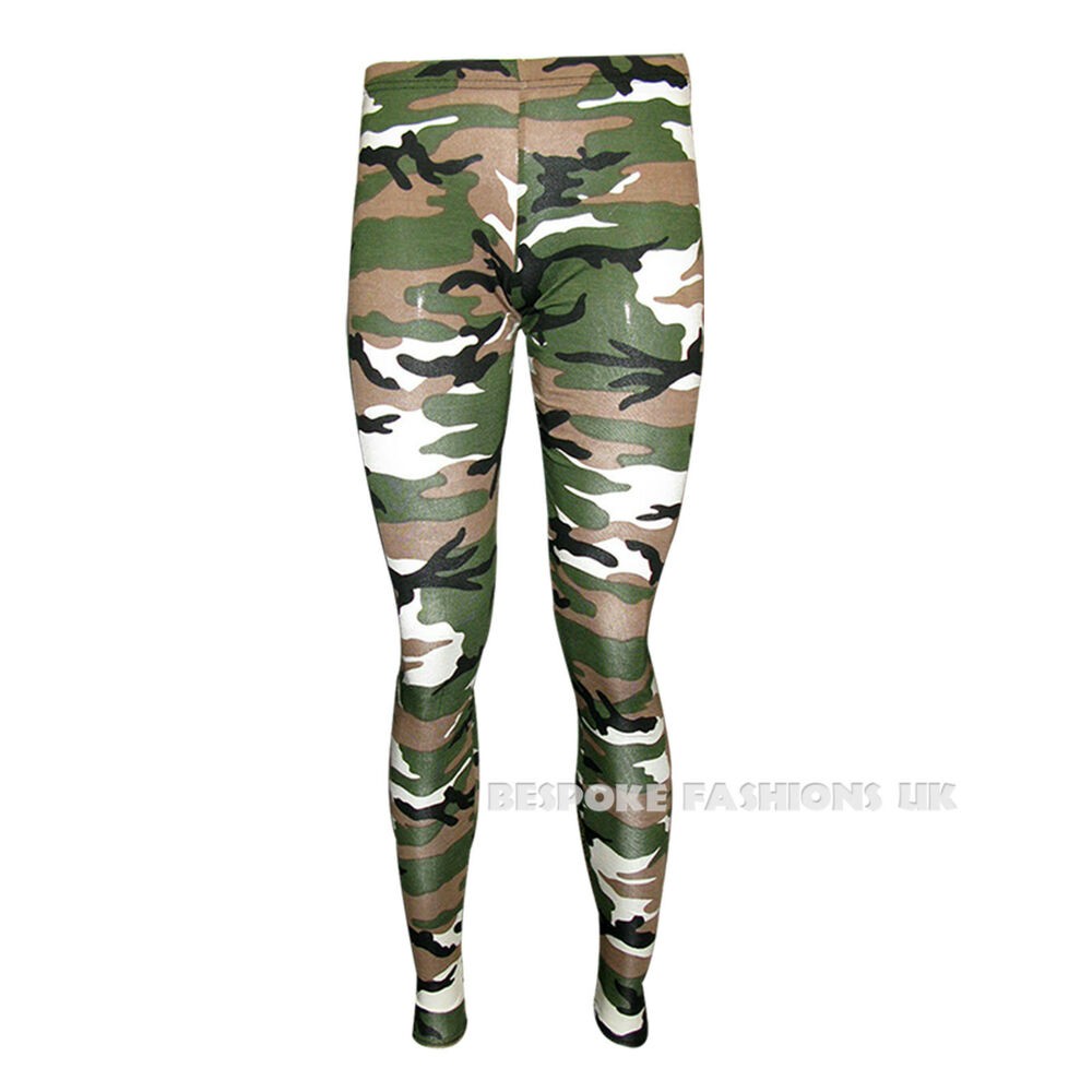 H6D Womens Camouflage Army Print Ladies Full Length Long Leggings Plus Size 8-18 | eBay