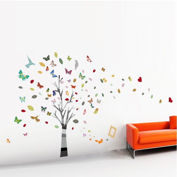 huge tree butterfly photo baby kids wall sticker decal. Black Bedroom Furniture Sets. Home Design Ideas