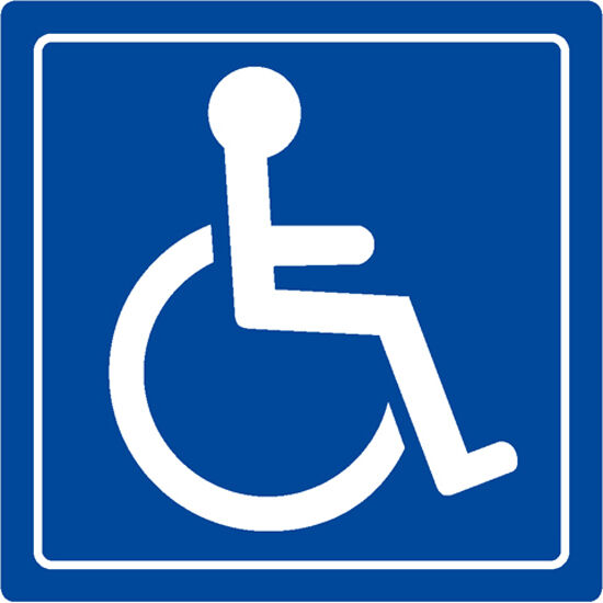 "Handicap Logo Signs Table Sticker Decal 3""x3"" 