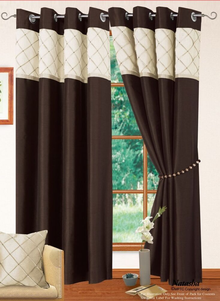 Brown cream colour modern faux silk 2 tone ring top for Living room curtains 90x90