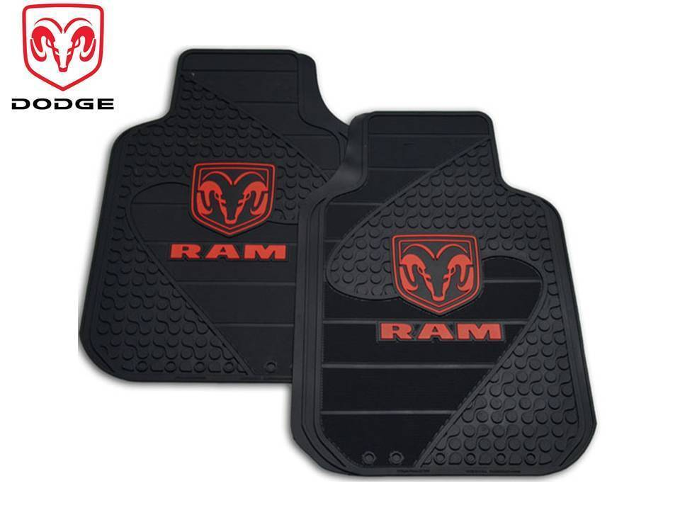 2 Pc Dodge Ram Logo Front Rubber Floor Mats Heavy Duty