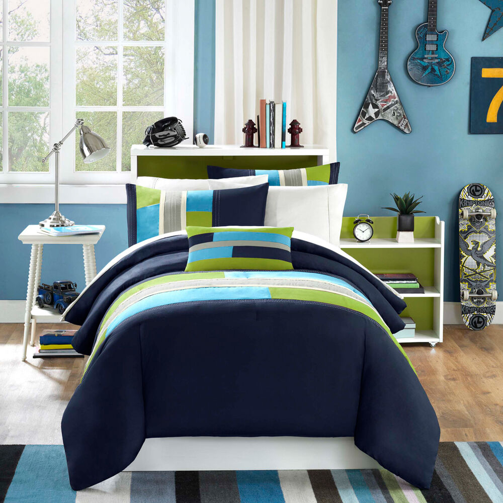 Modern Soft Navy Teal Aqua Blue Grey Stripe Boy Comforter