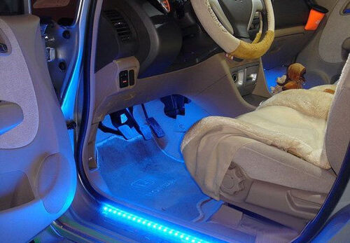 led car strip x 2 under light neon footwell flexible interior waterproof blue ebay. Black Bedroom Furniture Sets. Home Design Ideas