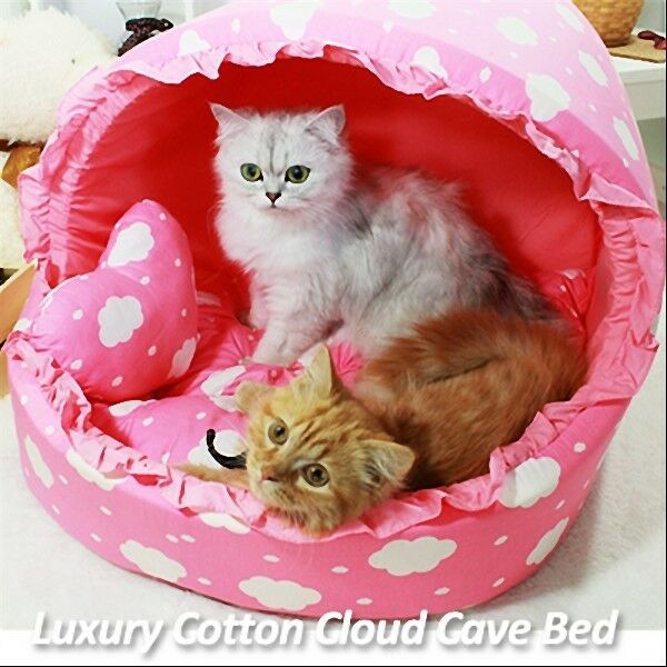 Luxury Pet Bed- Baby Pink Cotton Cloud Large House Plush