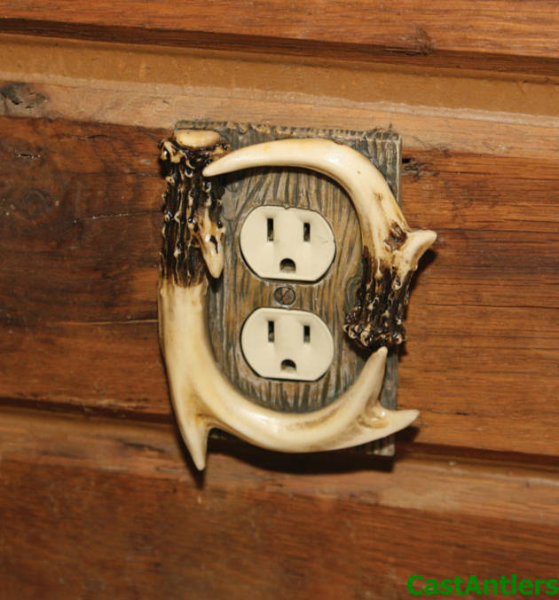 Metal Electrical Outlet Covers Oversized Outlet Covers: 6 Pack: Faux Deer Antler Single Outlet Receptacle Cover
