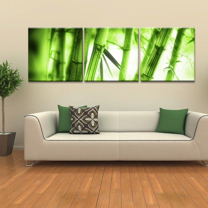 Bamboo ready to hang 3 piece mounted wall art print better for 3 piece wall art