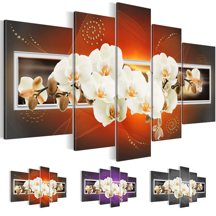 bild bilder leinwand xxl kunstdruck blumen orchidee braun. Black Bedroom Furniture Sets. Home Design Ideas