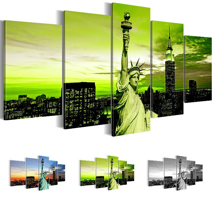 leinwand bilder bild kunstdruck new york gr n schwarz wei 200x100 5tlg 6039532 ebay. Black Bedroom Furniture Sets. Home Design Ideas