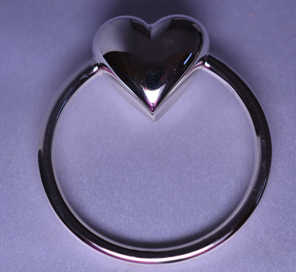 New Sterling Silver Heart Rattle Teething Ring For Baby Ebay