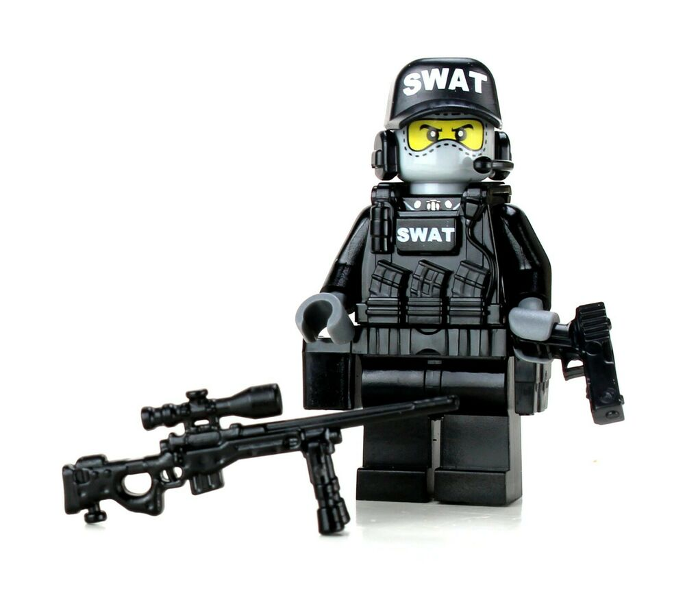 Swat Sniper Police Minifigure Sku52 Made With Real Lego