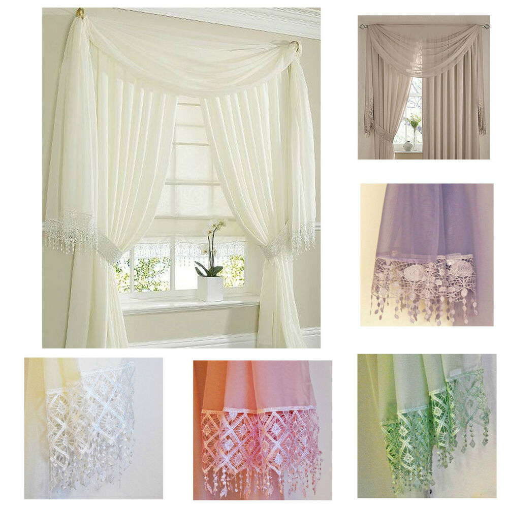 Voile lace scarf window scarves cream white pink green for Window voiles