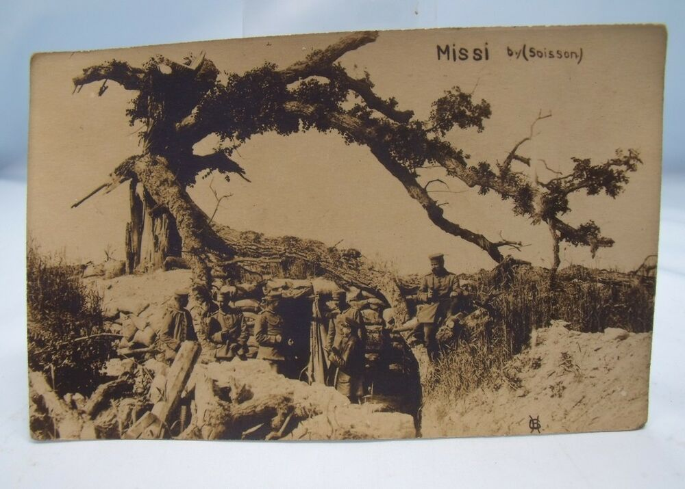missi by soisson german soldiers in trench wwi real photo postcard world war one ebay. Black Bedroom Furniture Sets. Home Design Ideas