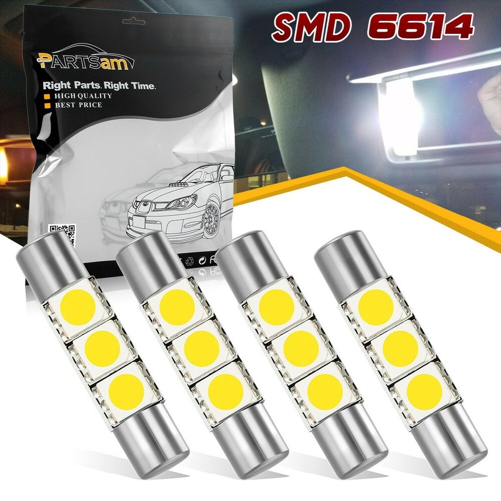 4x White Visor Vanity Mirror Lights Makeup Light White 3 SMD 6641 6614F Fuse