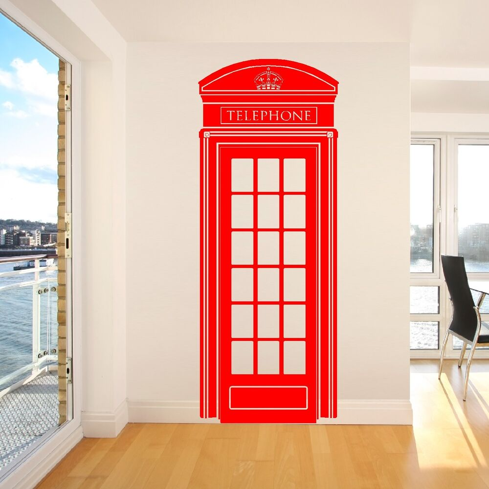london telephone box uk 57cm x 148cm vinyl wall art. Black Bedroom Furniture Sets. Home Design Ideas