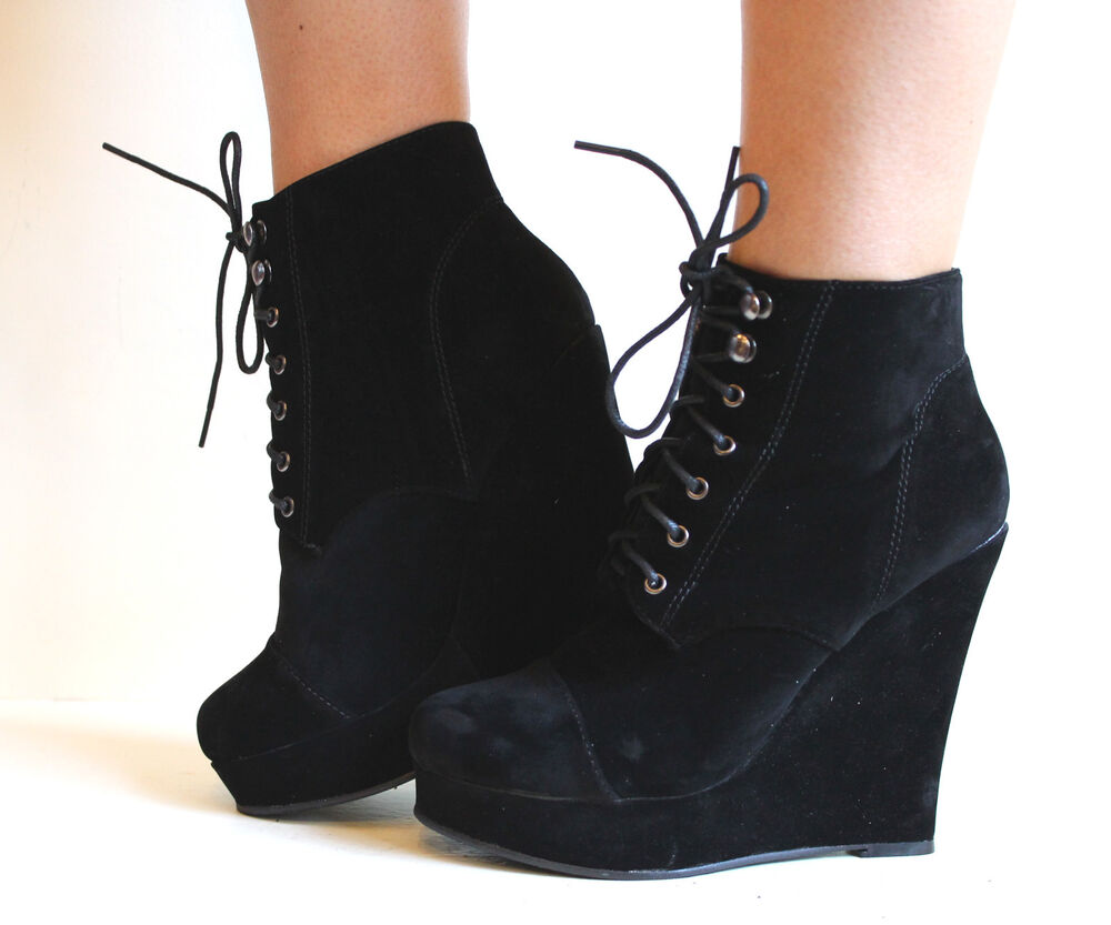 Black Wedge Boots. Showing 48 of results that match your query. Search Product Result. Product - Pure Women's Fashion Round Toe Slouch Large Buckle Wedge Mid Calf Boot Shoes. Product - Womens Matte Black Wedge Ankle Boots with 5'' Wedge Heels and Spiked Back. Reduced Price. Product Image.