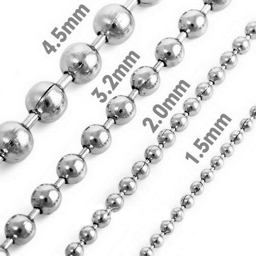 1 5mm 5mm 10 Quot 100 Quot Silver Stainless Steel Ball Necklace