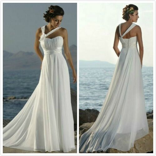In Stock White Chiffon Beach Bridal Gown Prom Deb Evening