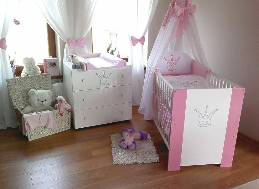 krone rosa komplett set babybett kinderbett wickelkommode. Black Bedroom Furniture Sets. Home Design Ideas