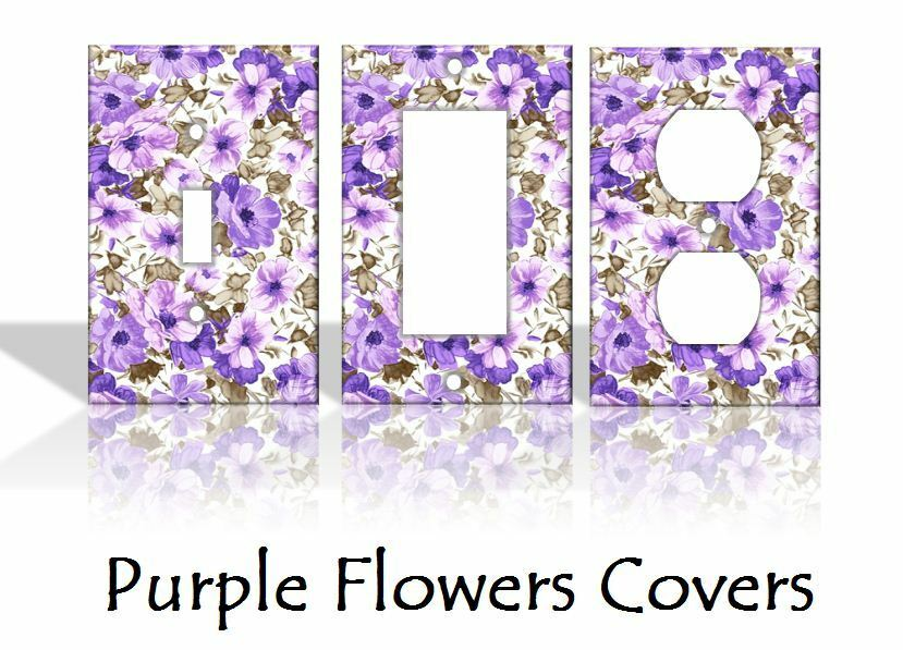 Purple flowers light switch covers floral home decor for Home decor outlet 63125