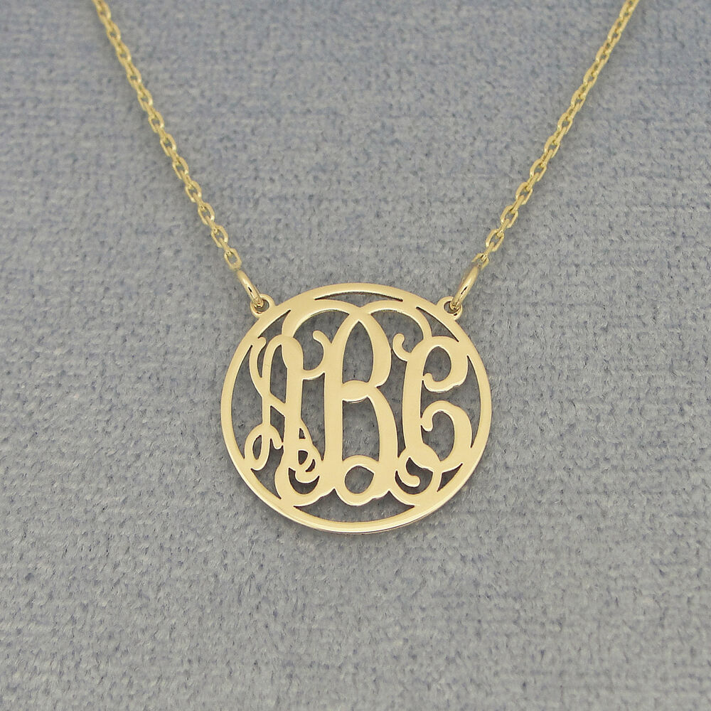 small 10k solid gold circle monogram necklace 5  8 inch bridesmaids gift gm40c