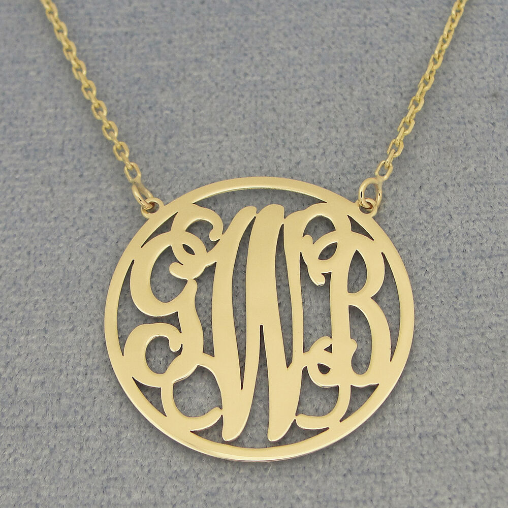 solid 14k gold 3 initials circle monogram necklace 1 inch