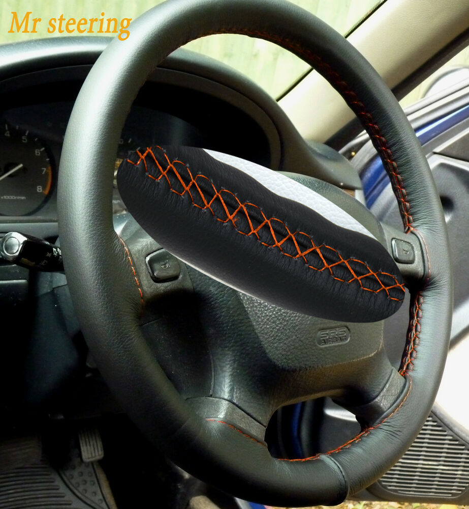 fits toyota tacoma 95 04 real black leather steering wheel cover orange stitch ebay. Black Bedroom Furniture Sets. Home Design Ideas