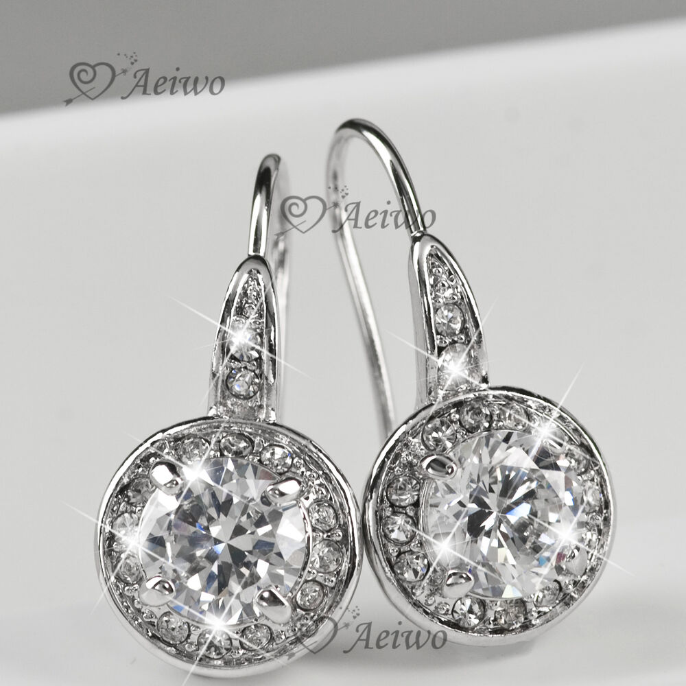 NEW DROP EARRINGS 9K GF 9CT WHITE GOLD MADE WITH SWAROVSKI ...