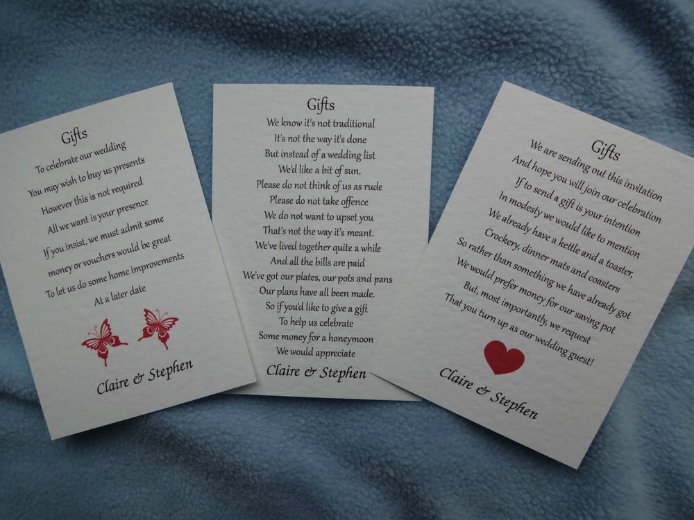 Wedding Gift Check Not Cashed : 50 SMALL WEDDING POEM CARDSMONEY CASH GIFTCHOOSE 1 OF 3 DESIGNS ...