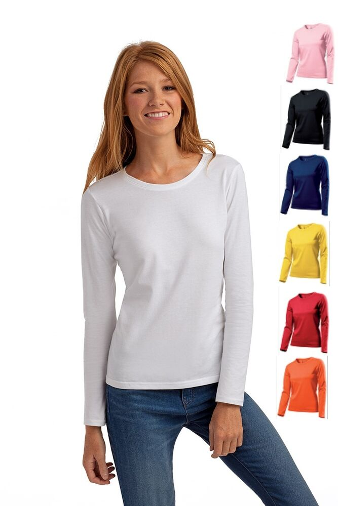 Hanes plain long sleeve cotton ladies womens womans girls for Women s 100 cotton long sleeve tee shirts