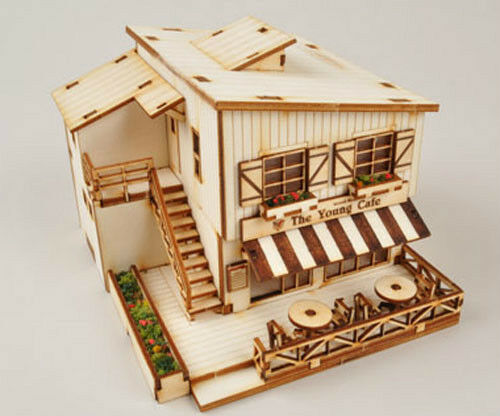 A House With Cafe Wooden Model Kit Ebay