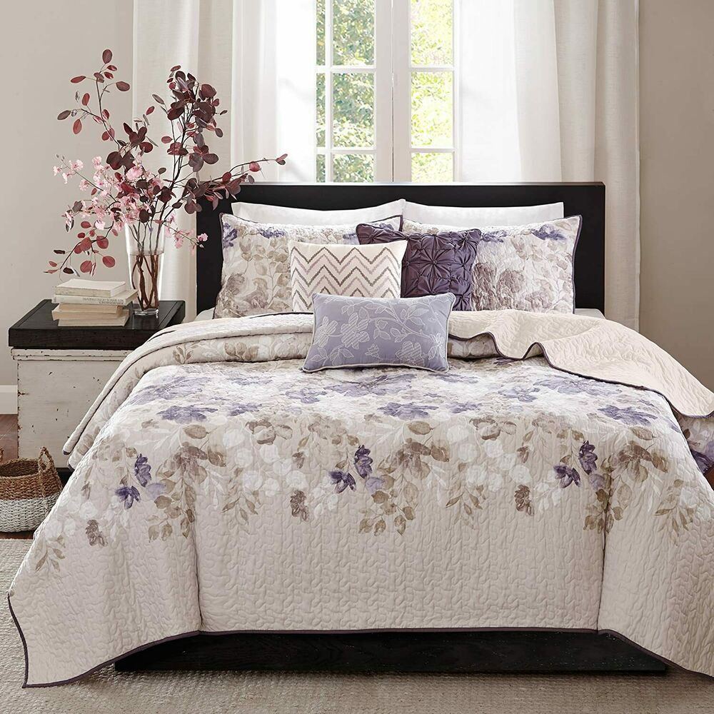 Beautiful Modern Chic Grey Yellow Floral White Quilt Set